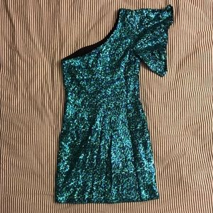 Teal and Green Sequin Bodycon Dress